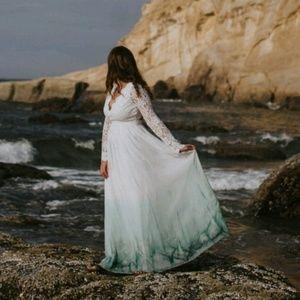 Lulus long sleeve lace dip dyed dress